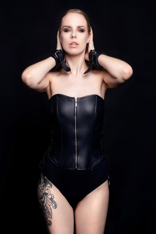 Ultra Black Leather Corset - House of SXN