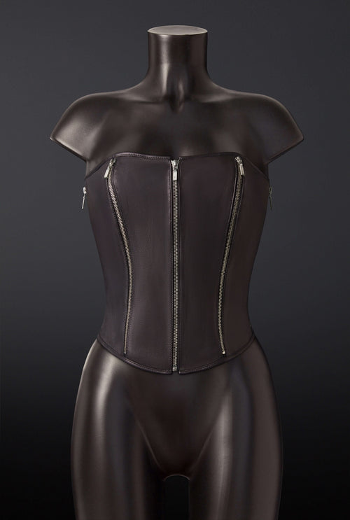 House of SXN Quin 5 Zipper Leather Corset
