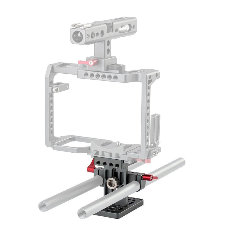 POWRIG camera accessories Universal Base Plate with Rod Clamp Rail Block for DSLR Cage -1631