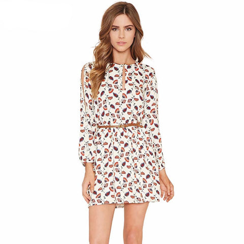 Boho Flower Print White Dress