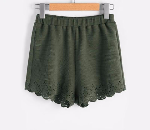 Army Green Scallop Short