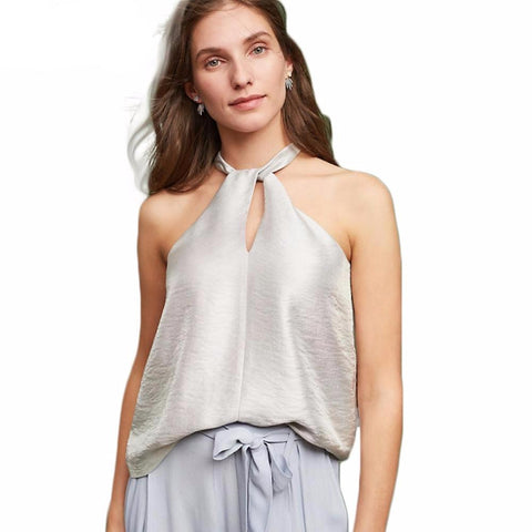 Solid Silver Women Blouse