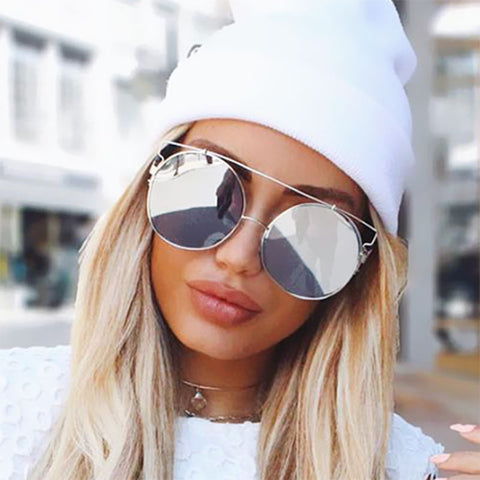 Oversized Rose Gold Mirror Sunglasses