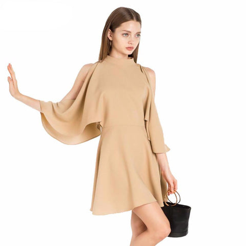 Solid Cold Shoulder Mini Ruffle Dress