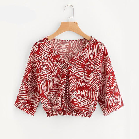 Allover Printed Crop Blouse