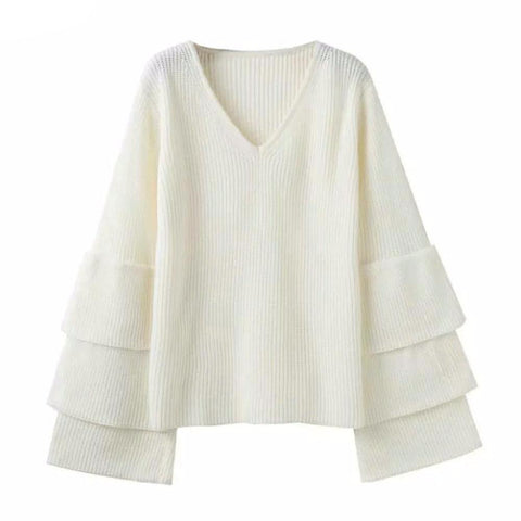 Autumn V Neck Layered Knitted Sweater