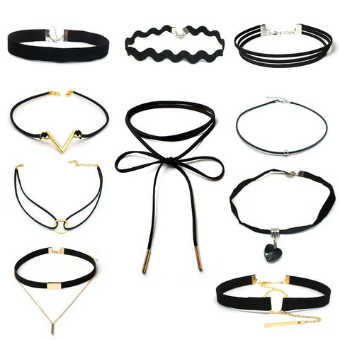 Gothic Tattoo Leather Choker Necklaces Set