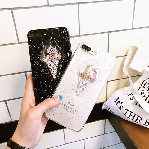 Marshmallow Ice Cream Glitter Case