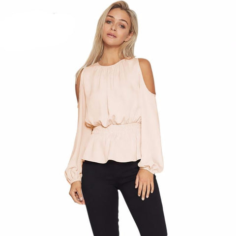 Cold Shoulder Slim Ruffle Top