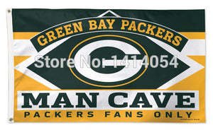 Green Bay Packers MAN CAVE FANS ONLY Flag 150X90CM Banner 100D Polyester3x5 FT flag brass grommets1003, free shipping