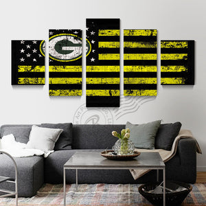 5 Panel Green Bay Packers Flag Logo Wall Art Oil Painting Home Decor Wall Picture For Living Room Modern Prints Unframd BR0171