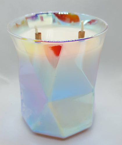 Rainbow glass soy candle