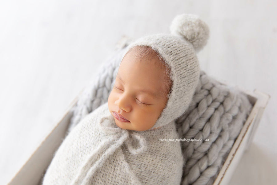 Fuzzy Wrap & Pom-Pom Bonnet - Newborn - Light Grey