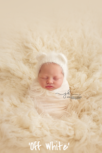 MADE TO ORDER - French-Angora Bear Bonnet - Newborn