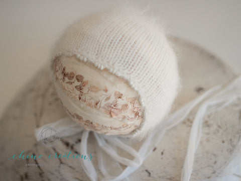 Beaded Edge French-Angora Bonnet - Newborn - Off White