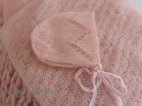 Ballet Pink - Mohair Bonnet, Long Wrap & Textured Layer Posing Set- Newborn