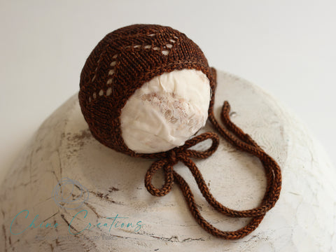 Classic Lace Knit Newborn Bonnet - Coffee