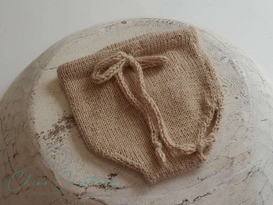 'Fremantle' Rustic Knit Alpaca Bloomers - Oatmeal - Newborn