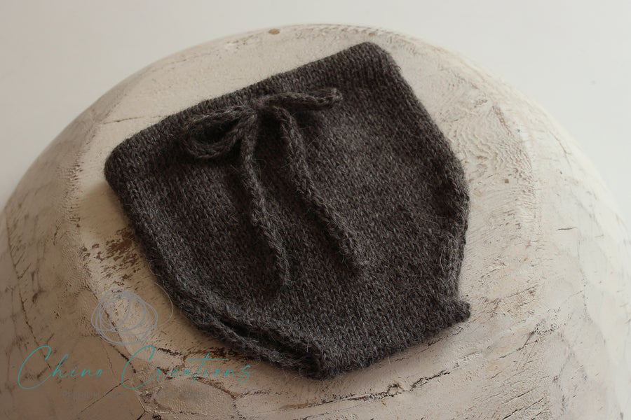 'Fremantle' Rustic Knit Alpaca Bloomers - Charcoal - Newborn