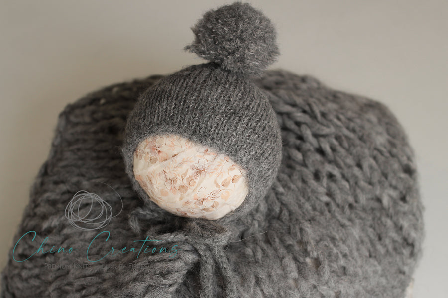 Fuzzy Layer & Pom-Pom Bonnet - Newborn - Dark Grey