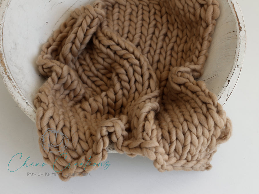 Chunky Merino Mini Blanket - Camel - matches French-Angora knits
