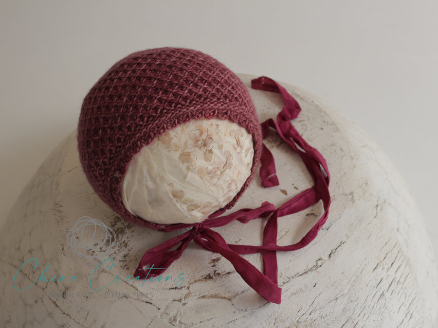 'Norwin' - Fine Merino Knit Bonnet - Newborn - Dark Rose