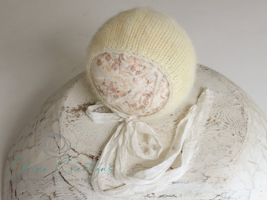 French-Angora Classic Bonnet - Lace Edge - Newborn - Canary