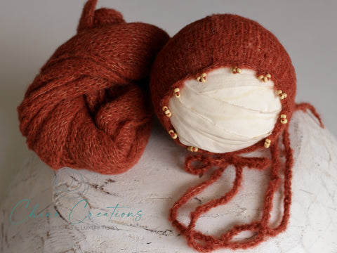 "Beaded Bonnet & 60"" Wrap Set - Brushed Alpaca - Rust"