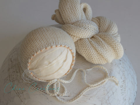 "'Leura' Bead Edge Bonnet & 70"" Wrap Set - Natural - Deluxe Alpaca"
