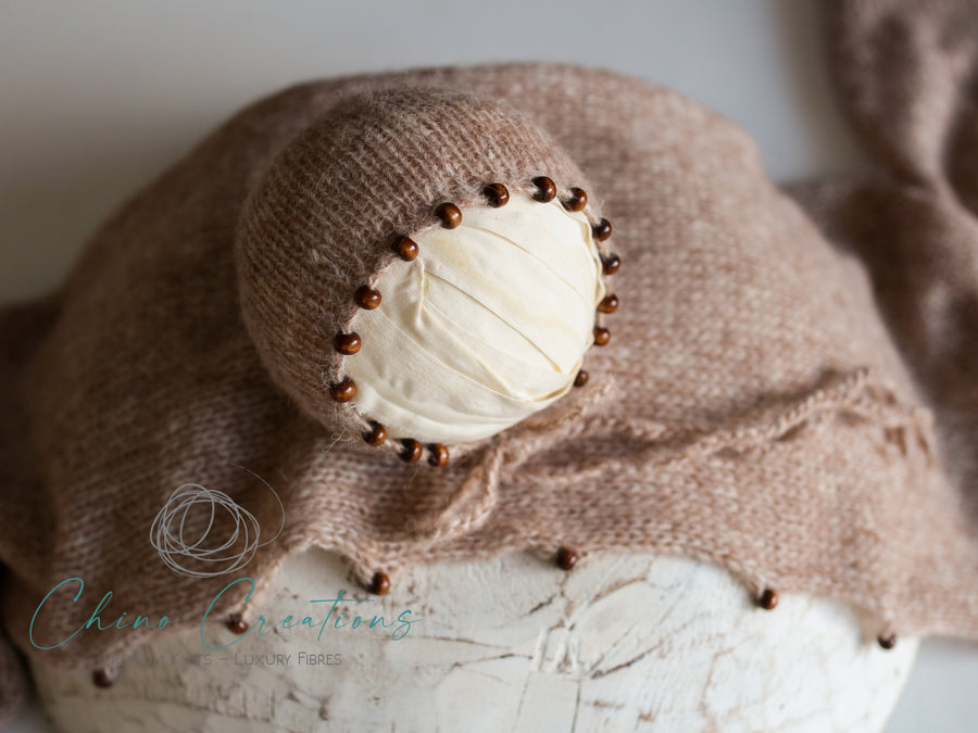 'Byron' Beaded Boho Cloud Wrap & Bonnet Set - Soft Alpaca - Caramel
