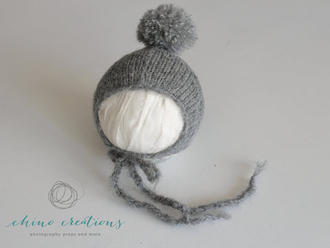 Fuzzy Wrap & Pom-Pom Bonnet - Newborn - Dark Grey
