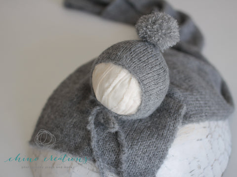 Posing Bundle- Fuzzy Layer, Wrap & Pom-Pom Bonnet - Newborn - Dark Grey