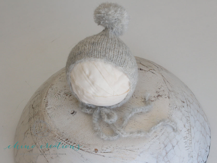 Fuzzy Pom-Pom Bonnet - Newborn - Light Grey
