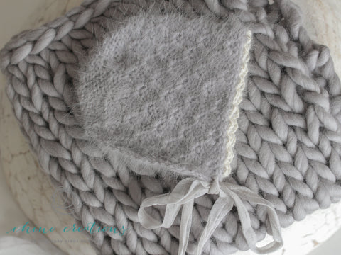 French-Angora Bonnet & Matching Merino Blanket Set - Grey