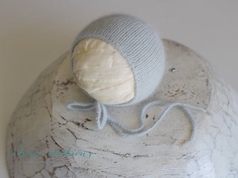 'Coburg' Fine Angora Simple Bonnet - Newborn - To Match Bloomers