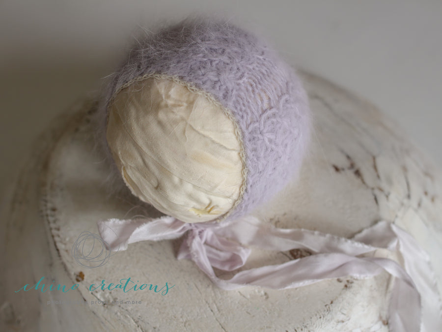 Pale Lavender - Cabled French-Angora Bonnet - Newborn - Silk Ties