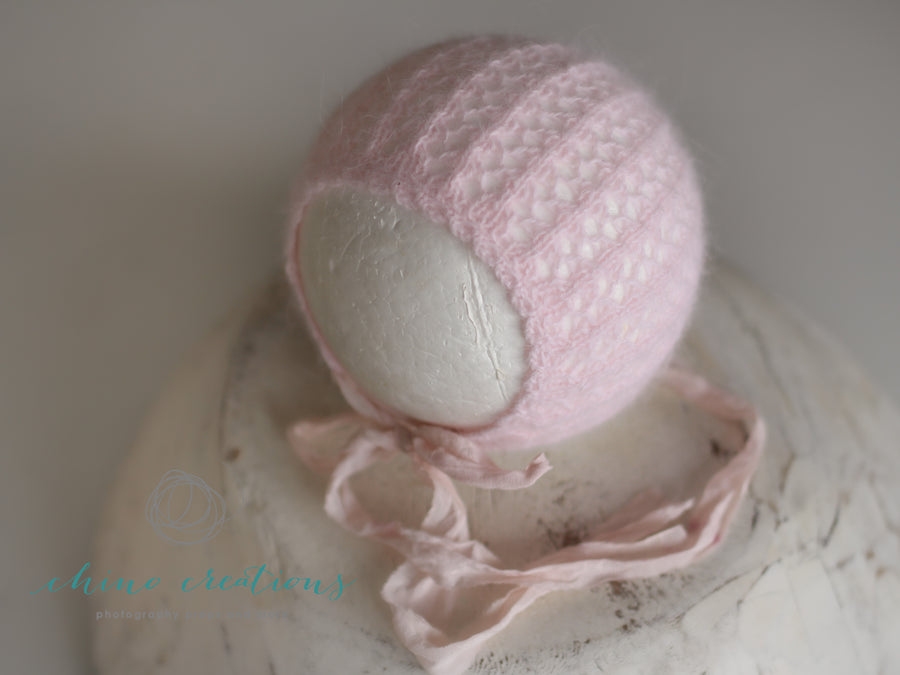 'Rye' Angora Lace Knitted Bonnet- Sitter Size (6-12m) - Ballet Pink