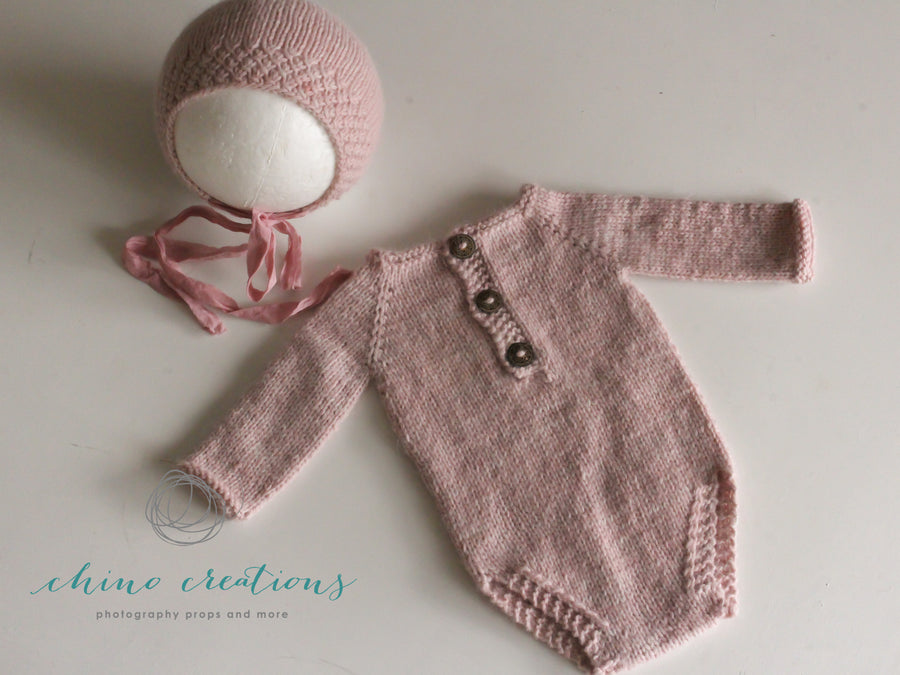 'Watercress' 3-6m Angora Blend - Long Sleeved Romper & Bonnet Set
