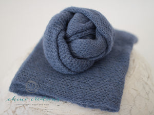Brushed Alpaca Wrap - Soft, fuzzy wraps in Cornflower Blue