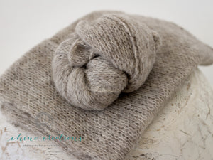 Brushed Alpaca Wrap - Soft, fuzzy wrap in Light Grey