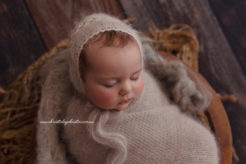 French-Angora Knitted Wrap & Lace Bonnet Set - Earl Grey