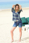 Anyolite Dark Blue Boyfriend Jean Shorts