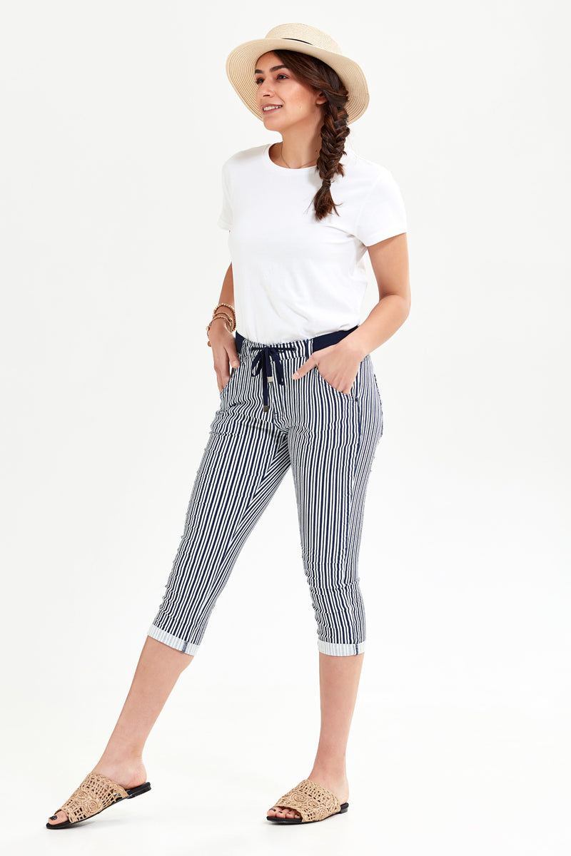 Picotite Boyfriend - Navy Stripes