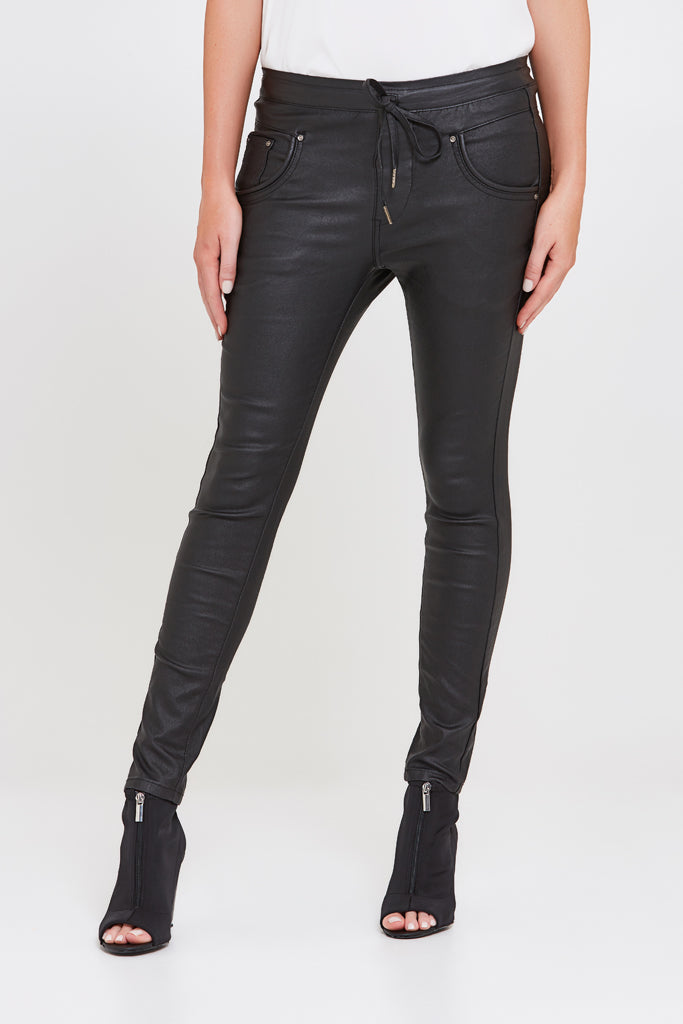 Silverbell Black Coated Jogger Pant