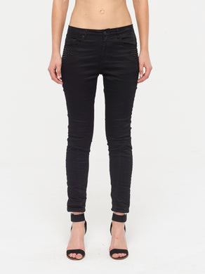 Quilted Ankle Jean - Black