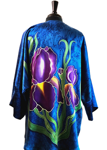 Silk Charmeuse One of a Kind Kimono Jacket with Free Hand Drawn Irises - COMMISSIONS AVAILABLE!