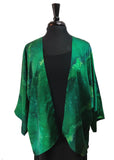 Hand Painted & Hand Constructed Beautiful Emerald Silk Kimono Jacket