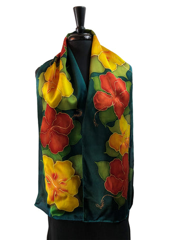 11x60 One of a Kind Natrishka Hibiscus Silk Satin Scarf