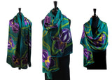 22x90 Original, One of a Kind Hand Painted Iris Shawl