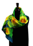 11x60 Hand Painted Marliana Sunflower Silk Satin Scarf